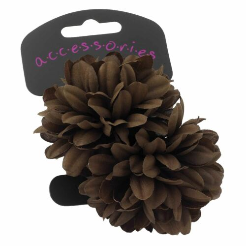 Womens Two Piece Brown /& Yellow  Medium Size Flower Ponio Set Hair Accessories