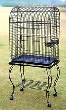"39"" Parrot Bird Cage With Wood Perches & Food Cups Black US Stock"