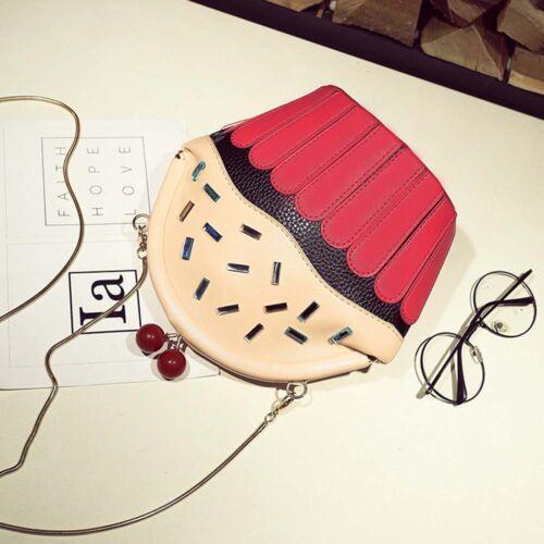 Fashion Women Girls Cup Cake Shape Chain Crossbody Bag Phone Purse Shoulder Bag
