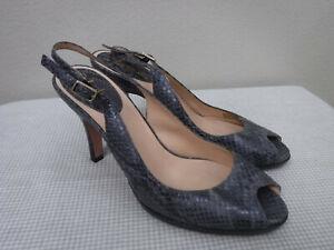 Women-039-s-COLE-HAAN-AIR-9-B-Gray-Snake-Skin-Peep-Toe-Slingback-Heels-Pumps-Shoes