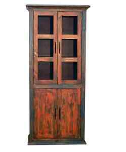 Rustic 4 Door Pantry Cabinet Orange Turquoise Rubbed Finish Western Real Wood
