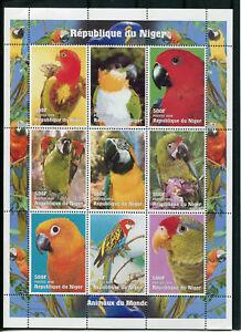 Doux Niger 1998, Oiseaux Peroquet 1247/1255 En Bloc Neuf** Finement Traité