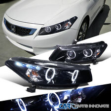 Glossy Black For Honda 08-12 Accord 2Dr Coupe Tinted LED Projector Headlight