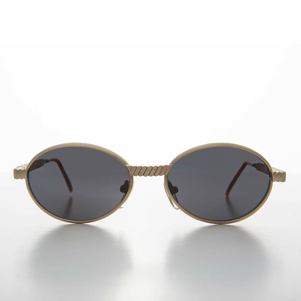 Gold Oval 90s Vintage Sunglass with Metal Rope Effect Frame - Snuff
