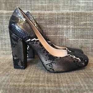 3d0503517437f Nine West platform heels faux snake skin square toe block heel sz 9 ...