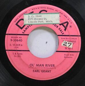 Pop-Promo-45-Earl-Grant-Ol-039-Man-River-Kathy-O-On-Decca