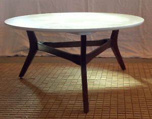 Image Is Loading Mid Century Modern Round White Coffee Table With