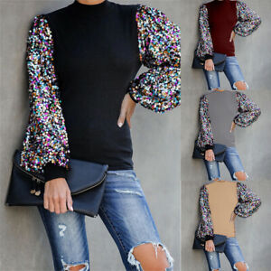 Womens-Puff-Long-Sleeve-Sequin-Tops-Blouse-Comfort-Shirt-Loose-Sweater-Pullover