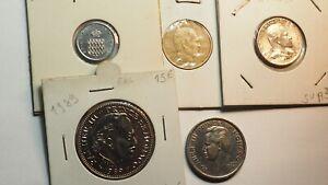 MONACO-5-monnaies-1-centime-1976-10-CENTIMES-1962-1-2-FRANC-1978-100-FRANCS