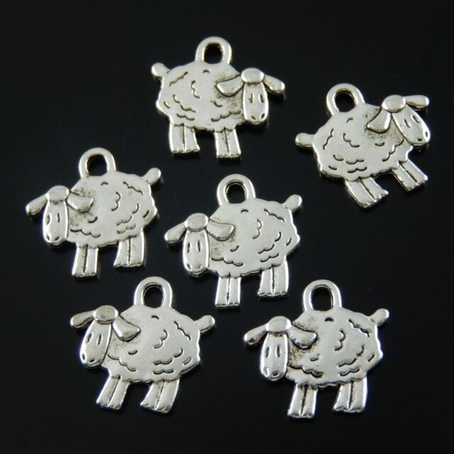 60PCS Antiqued Style Silver Vintage Alloy Sheep Shaped Pendant Charms 15*10*1mm