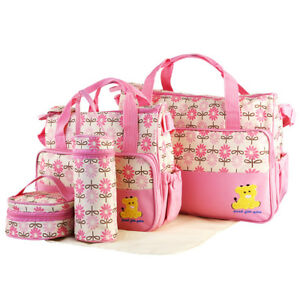 e1039fb546 5 Pcs Mummy Baby Maternity Diaper Bag Nappy Changing Large Capacity  Handbags Pink