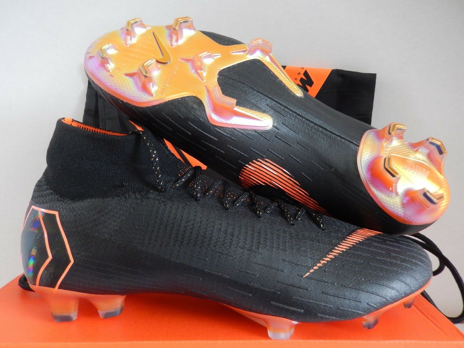 NIKE SUPERFLY 6 ELITE FG 13 Noir -TOTAL ORANGE-blanc SZ 13 FG 002517