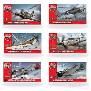 Airfix-1-72-Model-Kits-WW2-Aircraft-Spitfire-Hurricane-Messerschmitt-Focke-Plane