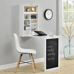 white wall folding desk workstation table storage shelves blackboard rh ebay co uk wall mounted folding desk wall folding desk uk
