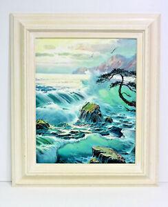 Ocean-Surf-Waves-Sunset-16-x-20-Art-Oil-Painting-on-Canvas-w-Custom-Frame