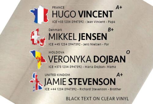 2x 16mm Custom Personalised Name Flag ICE for Bike frame or helmet. Clear vinyl