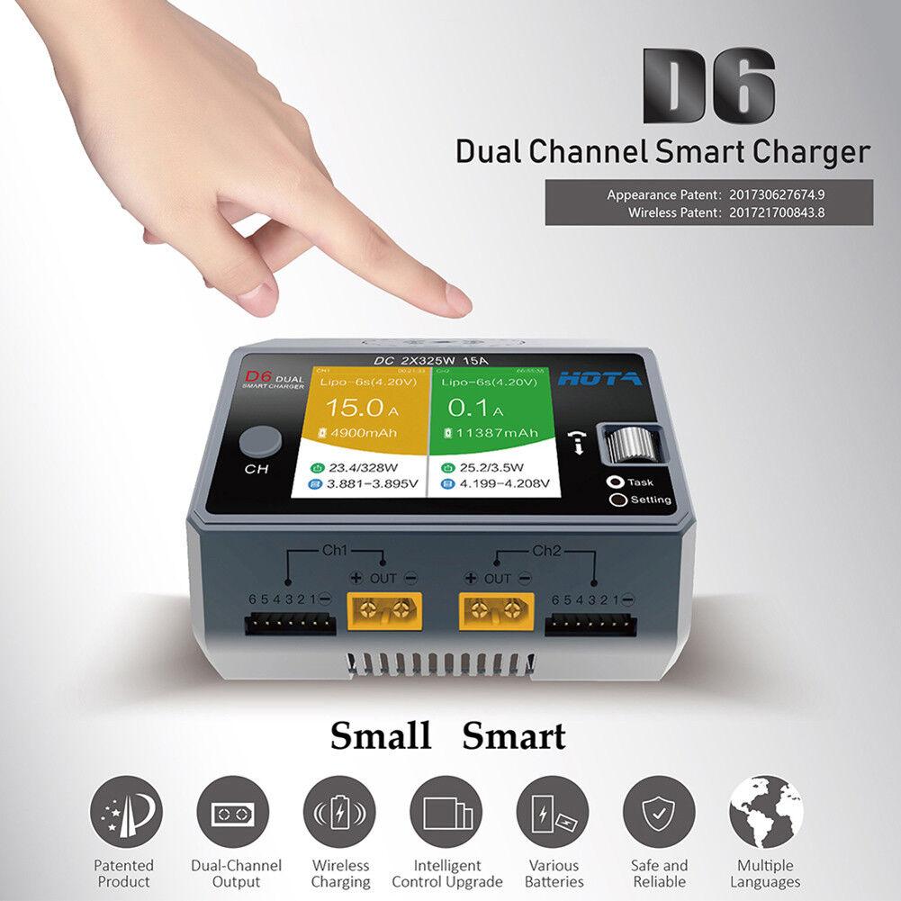 Hota D6 DC 650W 15A Doble Canal Inalámbrico Cargador para Teléfono Lipo NiMH batería om