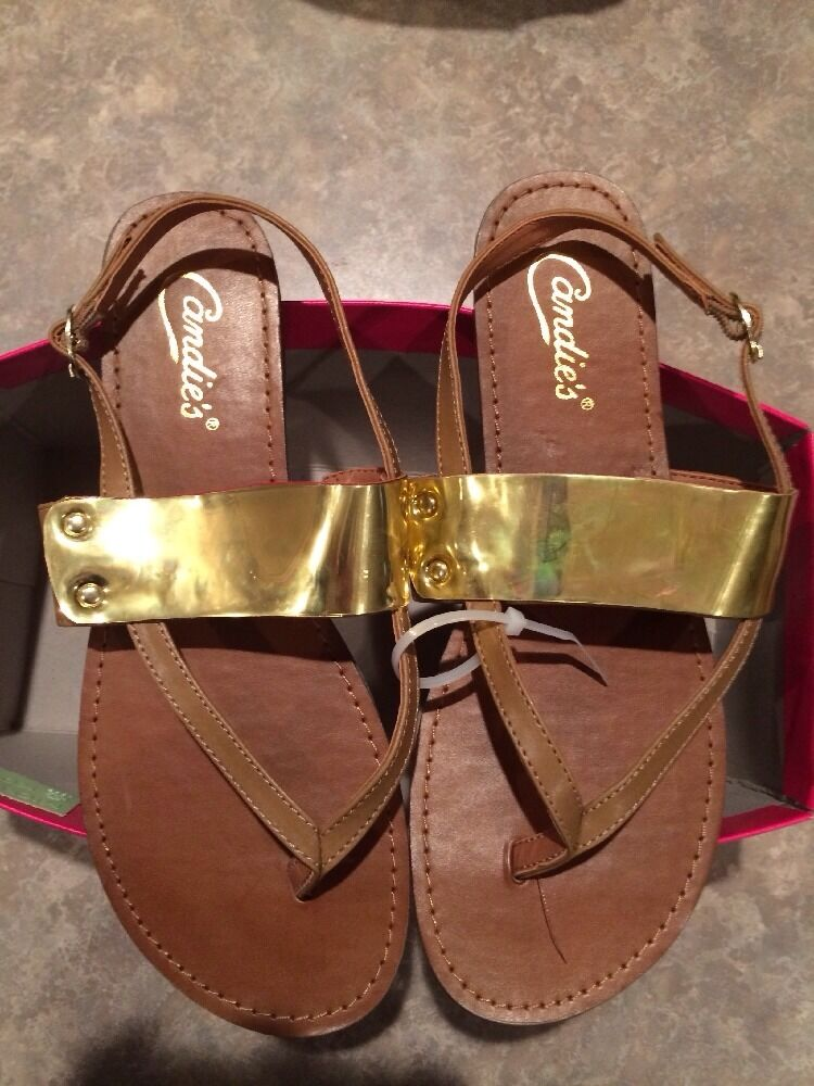 NEW Candie's flat Gold sandals size 9.5 shoes Caares Gold flat and Cognac ae3a2a