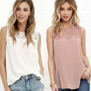 Women-Lace-Vest-Top-Sleeveless-Blouse-Casual-Tank-Tops-T-Shirt-Summer-NEW