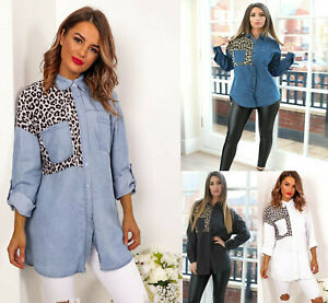 Womens Ladies Oversized Animal Leopard Print Roll Sleeve Button Denim Shirt Top