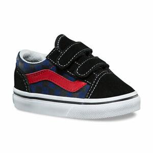 Details about Vans Little Boys Old Skool V Sneakers (Checkerboard) Black Blue Depth 3.5 New