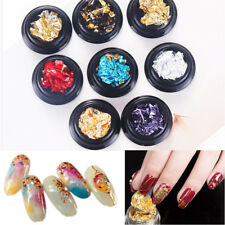 8 Set Nail Art Gold Silver Polish Glitter Foil Paillette Flake Chip Stickers AQ