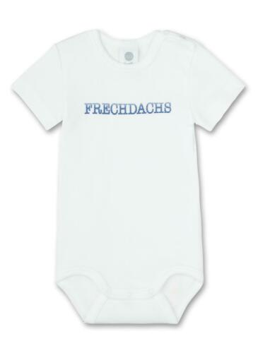 """Weiß Sanetta Baby Body Kurzarm Strampler mit Aufdruck /""""Frechdachs/"""" in blau"""