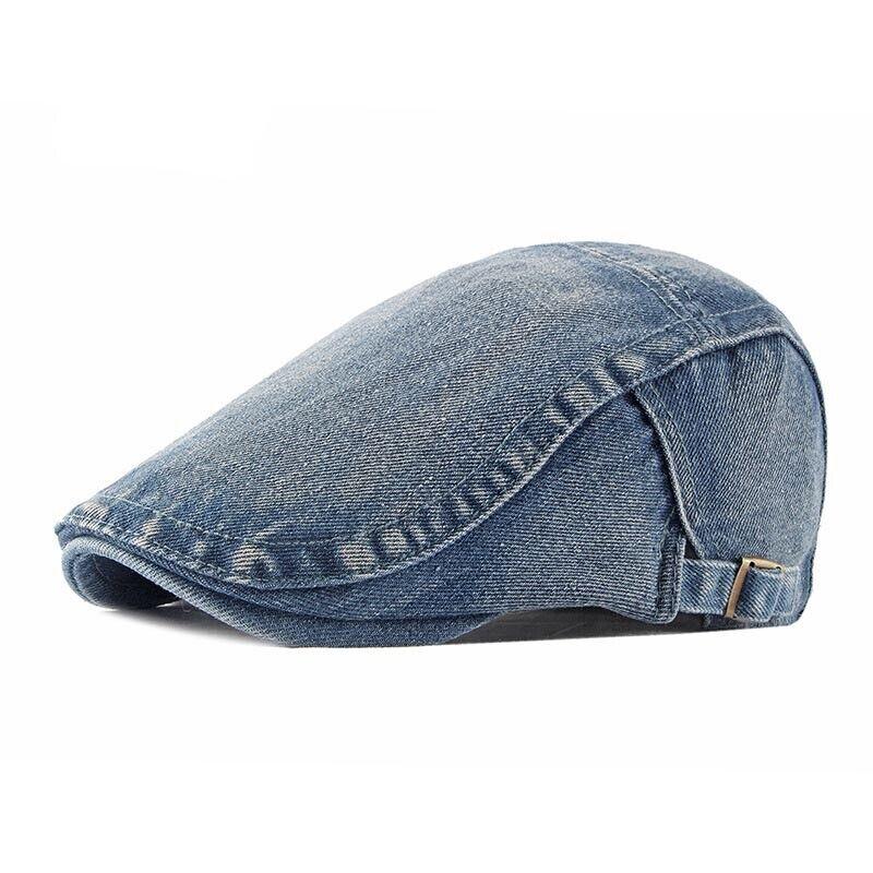 Herren Schiebermütze Gewaschen Gatsby Retro Denim Bestickt Fahren Hut Außen