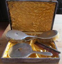 Stunning Vintage Antique Hallmarked Solid Silver Vanity Brush Mirror Comb Set