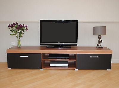 2 Metre Large 2 Door TV Cabinet Plasma Bench Stand Unit Black Walnut Grey White