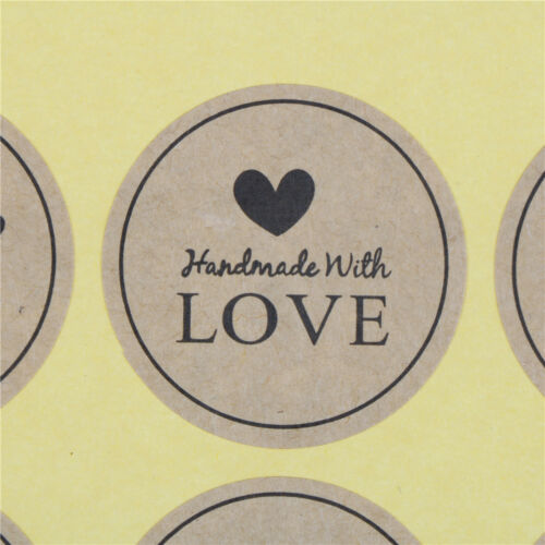 120x Hand Made with Love Paper Label Sticker Seal Stickers for Gift Packaging FO