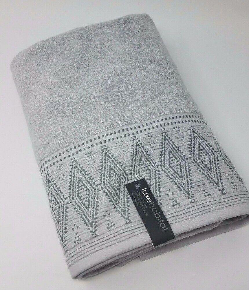 LuxeHabitat 100% Turkish Cotton Bath Towel, Grey
