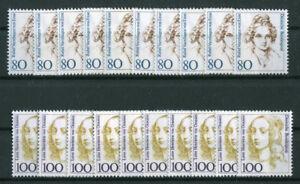 10-x-Bund-1755-1756-sauber-postfrisch-BRD-Frauen-0-80-1-00-DM-1994-MNH