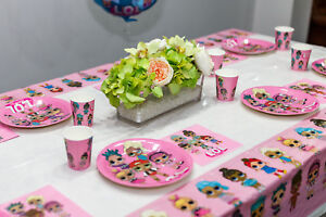 Themed cartoon tablecloth table cover supplies lol doll