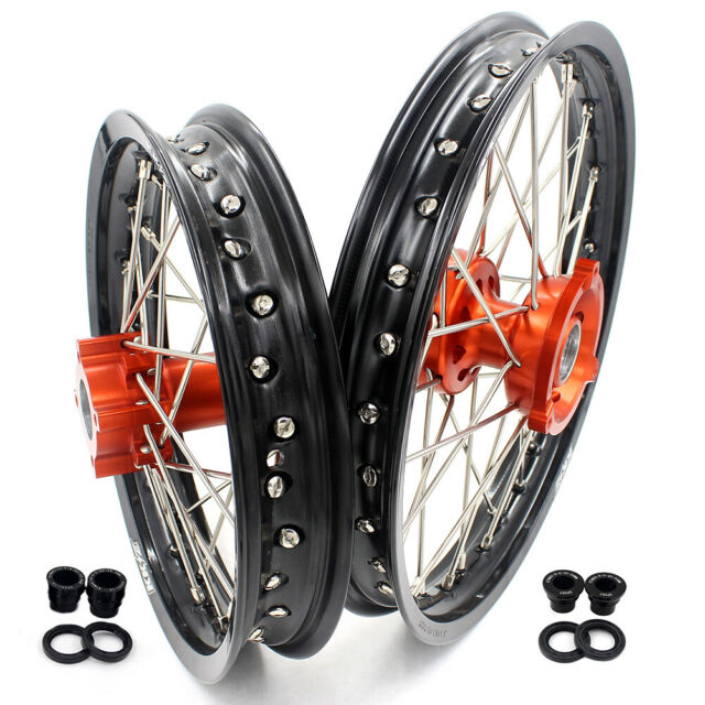 KKE 14/12 Kid's Small Dirt Bike Wheels Rims Set For 65SX 2002-2020 Orange
