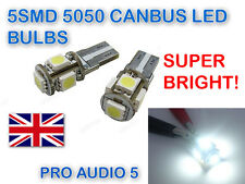 2x 5 SMD LED 501 T10 W5W CANBUS XENON WHITE SIDE LIGHTS NUMBER PLATE BULBS 6000K