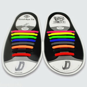 Hot-Colorful-No-Tie-Elastic-Shoe-Laces-100-Silicone-Trainers-Adult-Shoelaces
