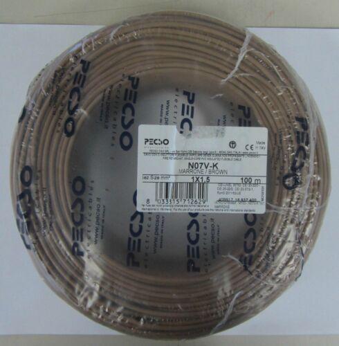 Cavo elettrico 100 mt unipolare sezione 1,5mm marrone n07v-k made in Italy New