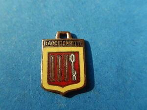 Vintage Enamel french Travel Shield Charms BARCELONNETTE KEY CROSS OF ARMS VITAM
