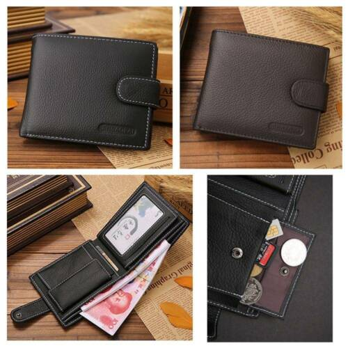 Men/'s Genuine Leather Cowhide Bifold Wallet ID Credit Card Holder Coin Purse