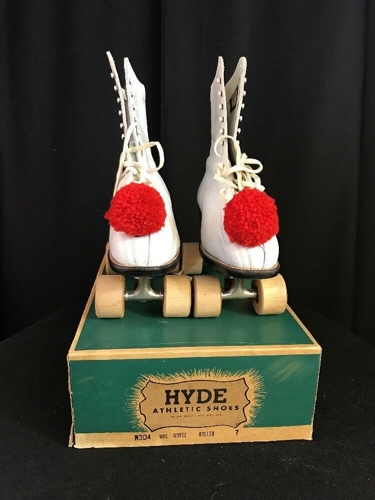Vintage Damens Größe 7 Hyde Leder Official Roller Derby Skates Wood Wheel W/box