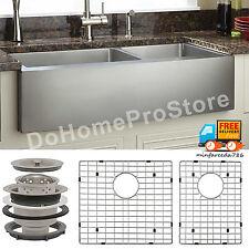 "33"" Curve Apron Kitchen Sink 16 GA Stainless Steel 60/40 Double Bowl Undermount"