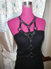 Stunning All Saints Ayame Leather Harness Dress Black Size 12 Excellent Cond