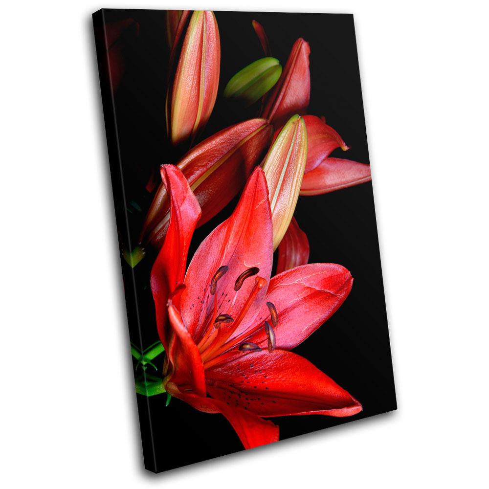 rosso Lilies Flowers Floral SINGLE TELA parete arte foto stampa