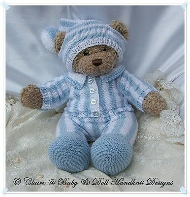 A4 KNITTING PATTERN for DOLLS /& TEDDY Cute PYJAMA Outfits