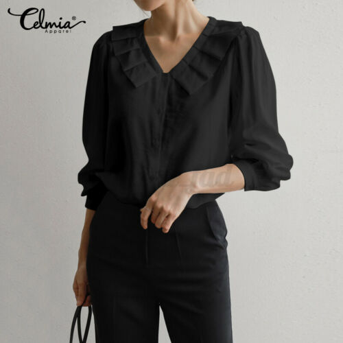 Women Ladies 3//4 Sleeve Shirts Blouse Ruffle V-neck Formal Office Tops Plus Size