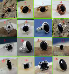 Black-Onyx-Gemstone-Ring-Handmade-Jewelry-Solid-925-Sterling-Silver-MR1901
