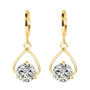 Women Simple Gold Plated White Cz Cubic Zirconia
