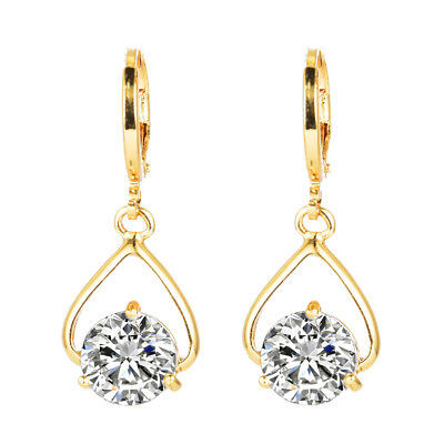 Fashion Women Gold Plated Cubic Zirconia CZ Long Drop Dangle Earrings Jewelry