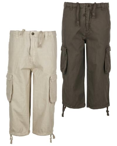 Maan Store Mens 3 Quarter Shorts Cargo Combat with Waist Button Fastening and Si